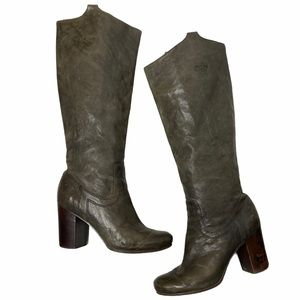 FRYE | Charcoal Carson Mid Heel Tab Antique Boots